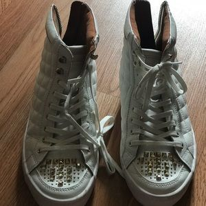 Rebecca Minkoff Studded White Leather Sneakers